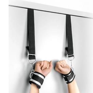 Menottes poignets bdsm suspension de porte : noir