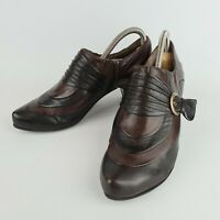 Caprice Brown Heeled Ankle Boots Size 5.5 Brown Leather Vintage 40s Style Shoes
