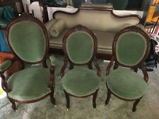 59185 ANTIQUE VICTORIAN CARVED PARLOR CHAIR set of 3