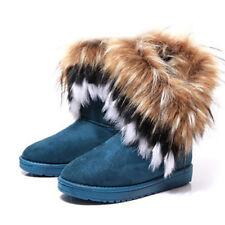 US Womens Winter Snow Boots Casual Warm Suede Faux Fox Fur Platform Ladies Shoes
