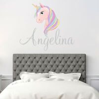 CUSTOM NAME VINYL DECAL WITH PINK UNICORN WALL STICKER