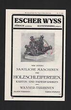 ZÜRICH RAVENSBURG, Werbung 1929, Escher Wyss Maschinen für Holzschleifereien