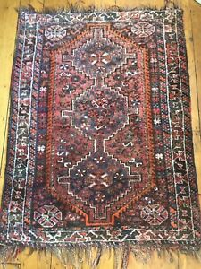 Antique 4'x 3' Balouchi Rug Hand Knotted Middle Eastern Rug