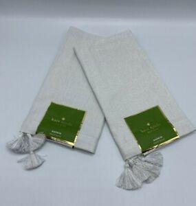 "Kate Spade New York Cloth Napkins Set of 2 Tinsel Tassel Silver 20"" X 20"" New"