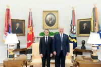 President Donald Trump and Emmanuel Macron of France in Oval Office Photo Print