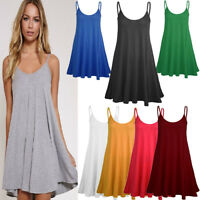 UK Womens Sleeveless Camisole Swing Dress Floaty Flare Strappy Skater Long Top