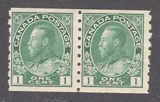 CANADA STAMP #125 --- 1c COIL PAIR -  PERF 8 VERT- 1912 - UNUSED