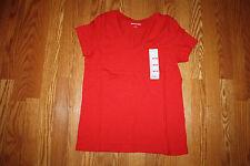 New Womens EDDIE BAUER Short Sleeve Salsa Red V-Neck Shirt Size M Medium