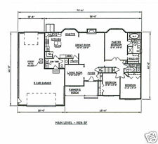3 Bdrm 2 1/2 Bath 1926 SF Hip Roof Ranch / 2-3 Stall Garage House Building Plans