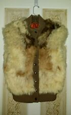 Vtg Mongolian Tibetan Tri Colored, Shaggy Fur & Wool Knit Vest Sz M, Gorgeous!