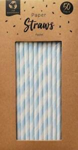 Eco Friendly Pastel Blue Paper Straws 50 Pack 100% Biodegradable Brand New Boxed