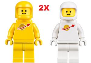 2X Genuine Lego retro space man astronaut yellow & white spaceman minifigure