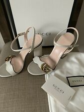 Gucci Double G White High Heel Sandals Size 36