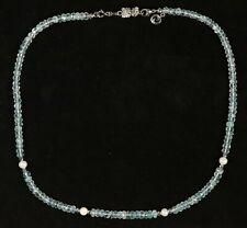 schöne Halskette mit Aquamarin, Hämatit, SW-Perlen, Verschluss Silber 925