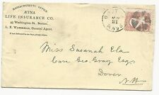 US AD COVER Fancy Cancel Boston, MA May 31, 1860 Life Insurance Company