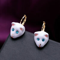 Costume Fashion Earrings Pendant Hook Enamel Cat White Blue Eyes Vintage