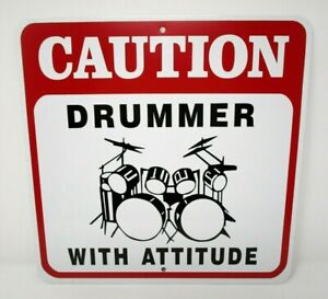 Novelty Caution Drummer With Attitude Metal Sign Musician Wall Art Studio Decor
