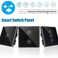 WIFI Smart Wall UK Touch Panel Switch Remote Control Work With Alexa Google