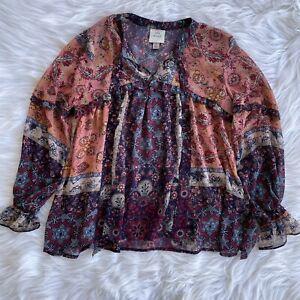 Womens S Small Knox Rose Multicolor Paisley Print Long Sleeve Boho Blouse Top
