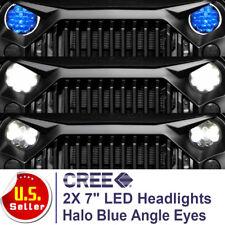 2X7'' CREE Round LED Headlights Halo Angle Eyes For Jeep Wrangler JK CJ LJ TJ H