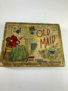1890'S THE JOLLY GAME OF OLD MAID CARD GAME PARKER BROTHERS IN ORIGINAL BOX