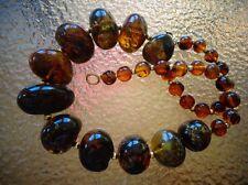 Antique Natural Black Cognac Baltic Amber Choker Necklace 190 cts Rare