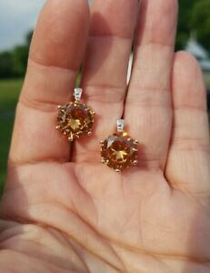 14ctw Round Imperial Topaz Lever Back Earrings,  18KRG/Silver