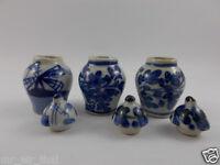 Ceramic Miniatures Antique Furniture Vintage Chinese Dollhouse Vase Jar Pot 3pc