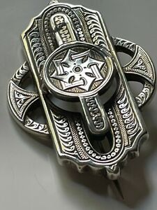 Antique Victorian vintage sterling silver ornate engraved puzzle brooch pin