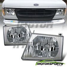 1992-2004 Ford Econoline E150/ E250/ E350/ E450 Van Chrome Headlights Pair