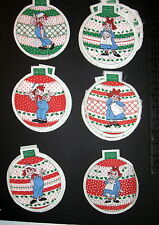 Vtg 70s Raggedy Ann & Andy Christmas Tree Ornaments cloth fabric panel cut out