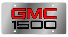 New GMC 1500 Red Logo Stainless Steel License Plate