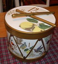 BRAND NEW WILLIAMS SONOMA GOLD TWELVE DAYS OF CHRISTMAS DRUM COOKIE JAR MINT