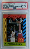 Pink Back: 1990 McDonald's Sports Tips Michael Jordan #8, PSA 6, Pop 19, Only 5^