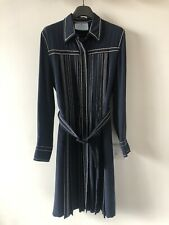 Prada Belted Navy Pleated Dress