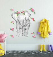 Flowers Elephant Wall Art Sticker Kids Nursery Decor Removable Vinyl Decal Mural