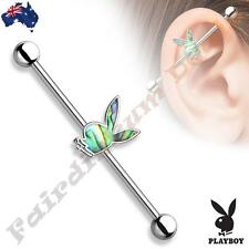 Authentic Playboy Industrial Barbell Ear Ring with Abalone Inlaid Playboy Bunny