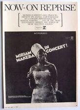 MIRIAM MAKEBA 1967 Poster Ad IN CONCERT