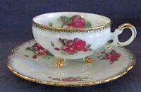 Cup & Saucer, Iridescent Finish, Roses, Gold Trim, Made in Japan Vintage Footed