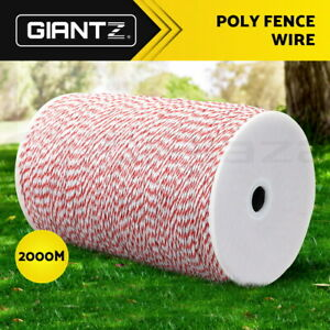 Giantz 2000M Electric Fencing Wire Fence Tape Energiser Stainless Steel Poly