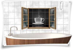 Fliesen-Aufkleber Fliesen-Bild Fenster Tasse Kaffee Tee Getränk Aroma Dampf Bad