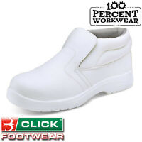Nurses Medical Food Hygiene White Work Safety Boots Slip On Steel Toe Cap S2 SRC