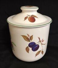 Royal Worcester Evesham Vale Green Trim Large Flour Canister Porcelain Fruit