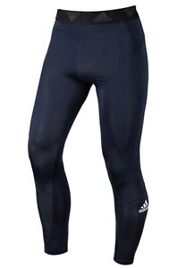Adidas Men Tech-Fit L/S Training Pants Navy Casual Yoga GYM Tight-pant GL9875