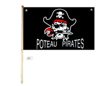 5' Wood Flag Pole Kit Wall Mount Bracket W/ 3x5 Poteau Pirates Polyester Flag