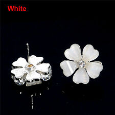 Elegant Fashion Crystal Rhinestone Ear Stud Flower Design Earrings Party Jewelry White