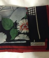 Leonardi Signature Scarf Red Black Green Gray Foral and Checkers