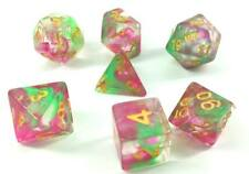 Oriental Garden Green & Pink Poly Dice Set (7) Translucent New RPG DnD with Gold