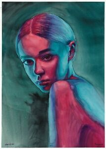 original painting A3 358ShA art samovar Watercolor female portrait in neon