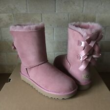UGG SHORT BAILEY BOW II PINK DAWN SUEDE SHEEPSKIN BOOTS SIZE US 10 WOMENS